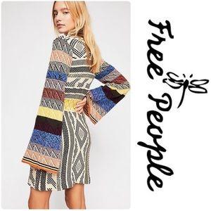 Free People Patchwork Knit Dress Tie Waist